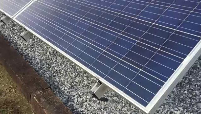 Features of the mounting system for a ground-mount solar array.