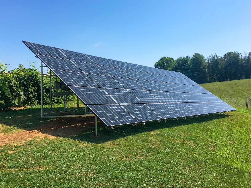 A ground mounted off grid solar system from Belmont Solar.