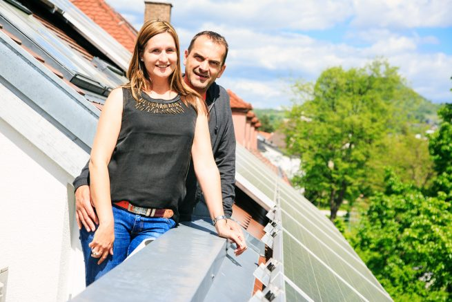 A family with their net zero home.